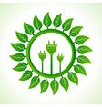 Eco plug inside the leaf background vector