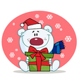 Giving christmas polar bear holding a gift vector