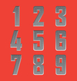 Brushed metal font series 4 1-9 vector