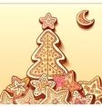 Christmas tree chocolate honey-cakes background vector