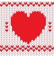 Knitted textile decorative valentine heart vector