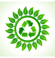Recycle icon inside the leaf background vector