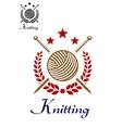 Hand knitting emblem vector