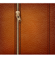 Brown leather texture background with zipper vector