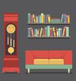 Living room interior design vector