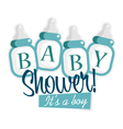 Blue baby shower bottles vector
