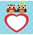 Owls love card vector