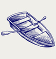 Wooden boat with paddles vector