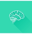 Vintage of human brain with long shadow vector