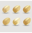 Golden easter eggs with shadow on gray background vector