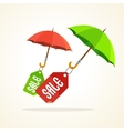 Umbrellas with sale stickers flat design vector