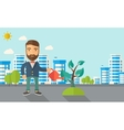 Man watering the plant vector