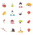Japan icons flat vector