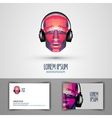 Music logo design template headphones or vector