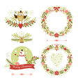Set of christmas wreaths frames holiday symbols vector