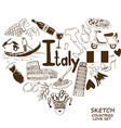 Italian symbols in heart shape concept vector