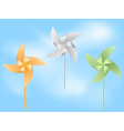 Paper windmill in blue sky vector