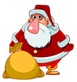 Cartoon surprised santa claus with a bag of gifts vector