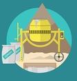 Flat for construction site concrete mixer vector