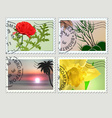 Set of post stamps plants theme vector