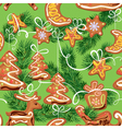 Seamless christmas pattern - xmas gingerbread vector