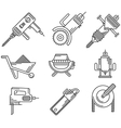 Black outline icons for construction equipment vector