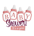 Pink baby shower bottles vector