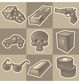 Monochrome gangsta icons vector