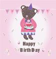 Sweet happy biryhday card with bear vector