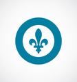 Fleur-de-lys icon bold blue circle border vector