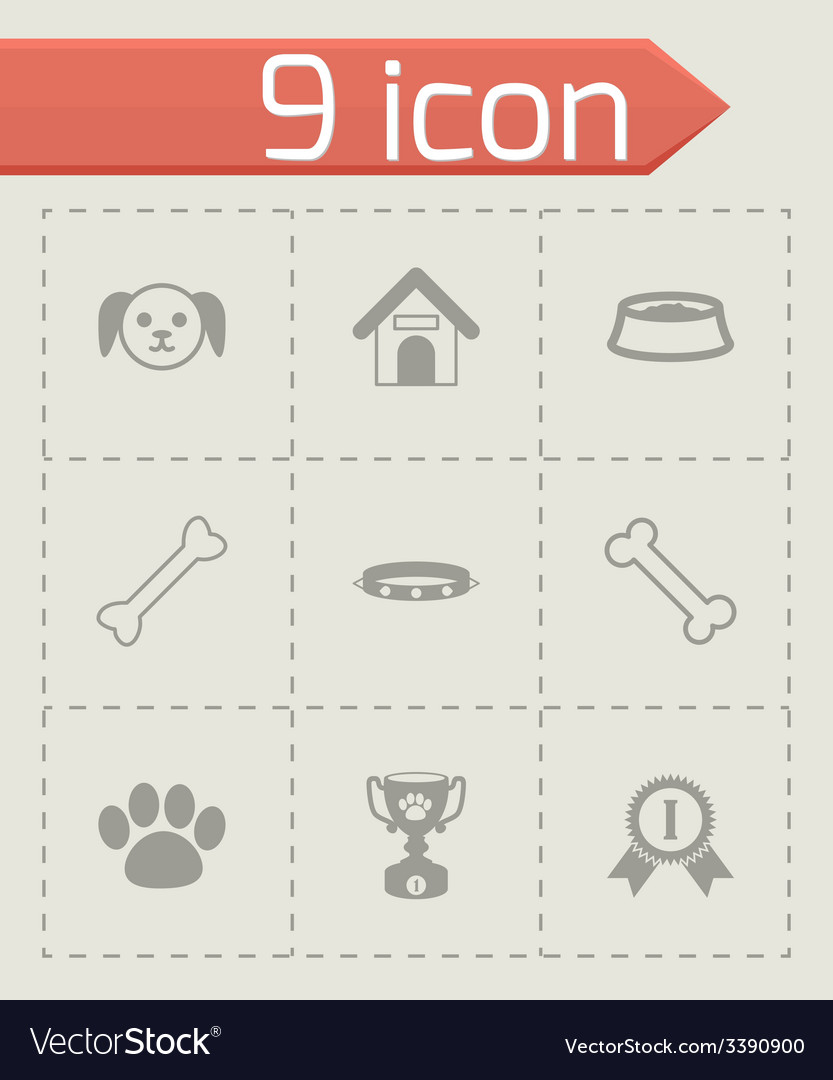 Black dog icon set vector | Price: 1 Credit (USD $1)