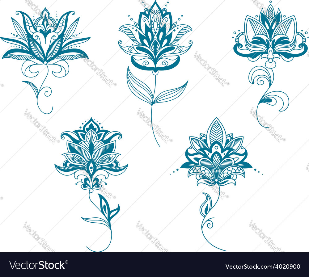Blue persian flowers in paisley style vector | Price: 1 Credit (USD $1)