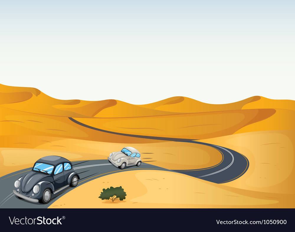 Cars in a desert vector | Price: 3 Credit (USD $3)