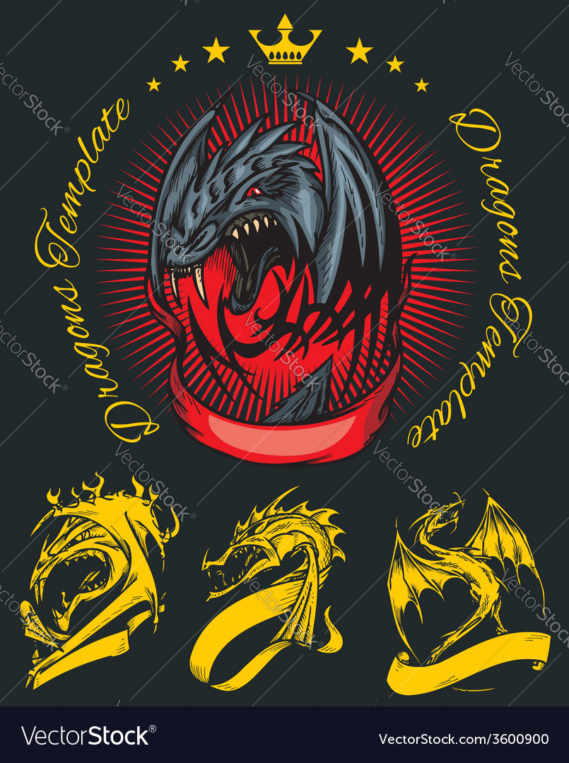 Dragon and ribbon - set stock vector   Price: 1 Credit (USD $1)