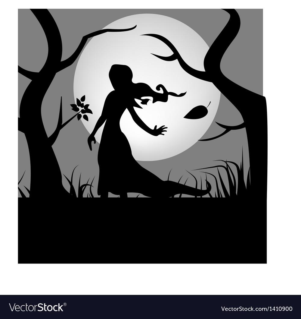 Girl in woods vector   Price: 1 Credit (USD $1)