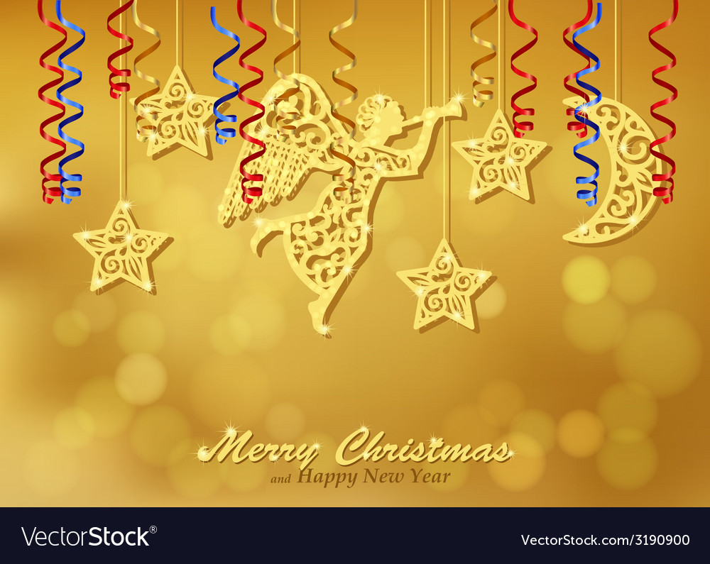 Holiday gold background with figures of angel vector | Price: 1 Credit (USD $1)
