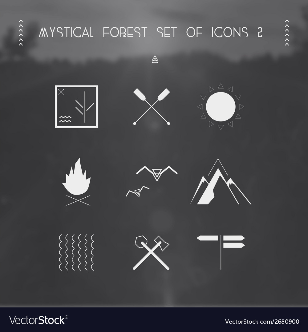 Mystical forest set of icons vector | Price: 1 Credit (USD $1)
