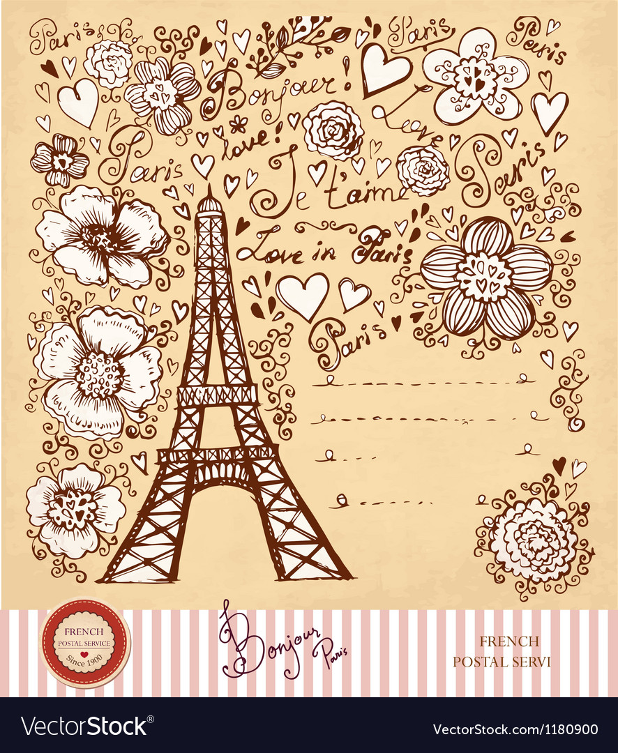 Paris postcard vector | Price: 3 Credit (USD $3)
