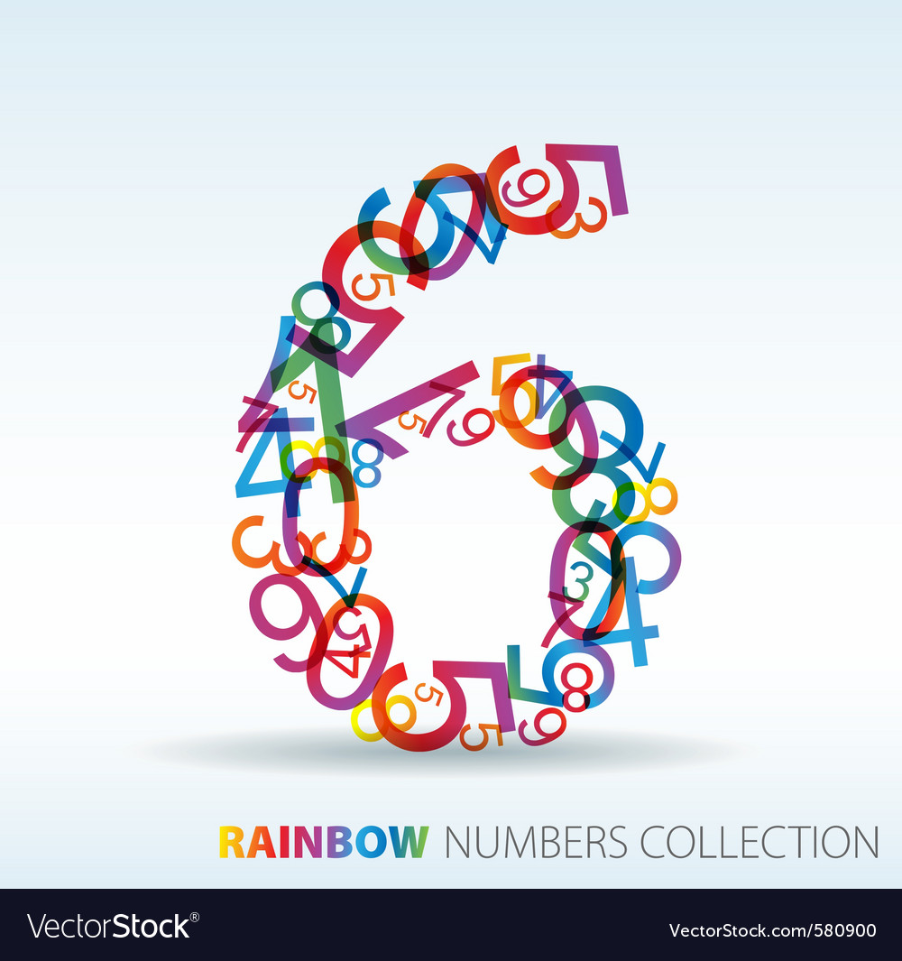 Rainbow number six vector | Price: 1 Credit (USD $1)