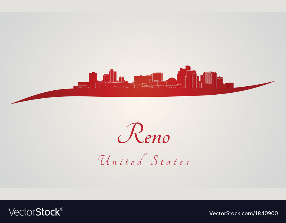 Reno skyline in red vector | Price: 1 Credit (USD $1)