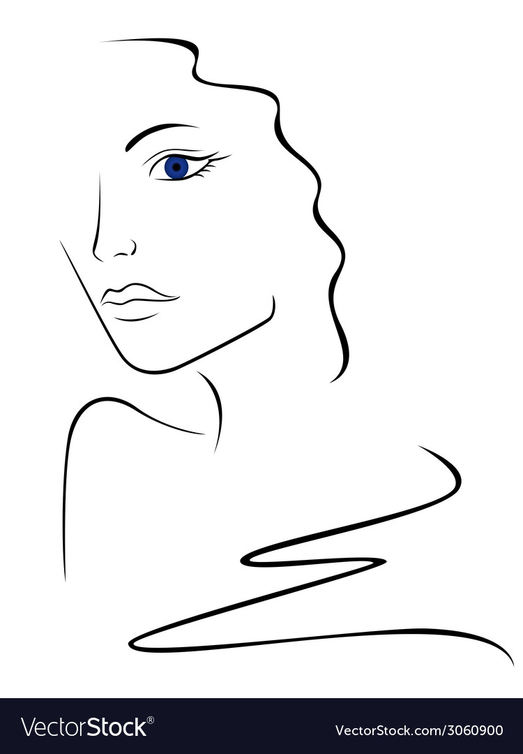 Sketch contour of woman head vector | Price: 1 Credit (USD $1)