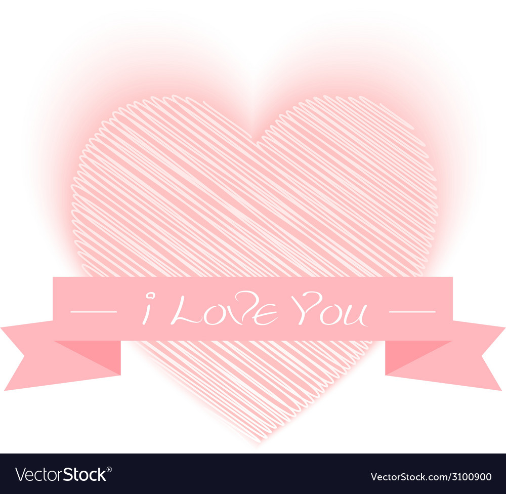 Sketch heart shape with i love you vector | Price: 1 Credit (USD $1)
