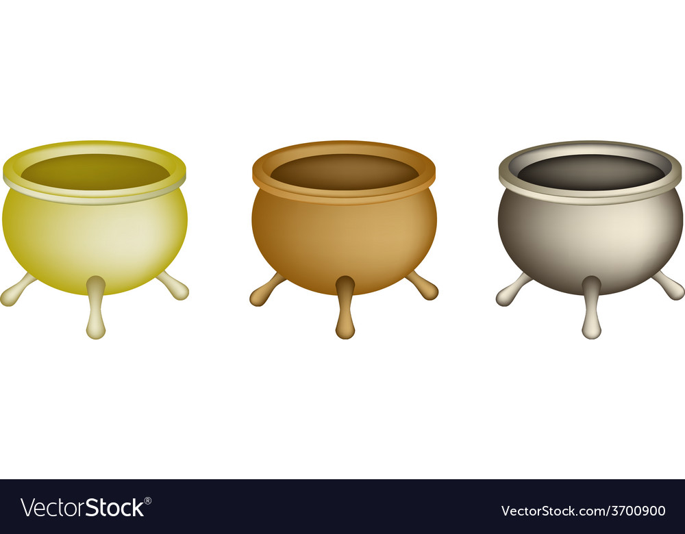 Three joss stick pots on white background vector | Price: 1 Credit (USD $1)