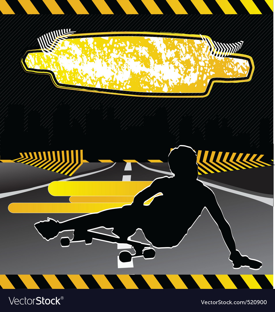 Urban city composition with longboard skateboarder vector | Price: 1 Credit (USD $1)