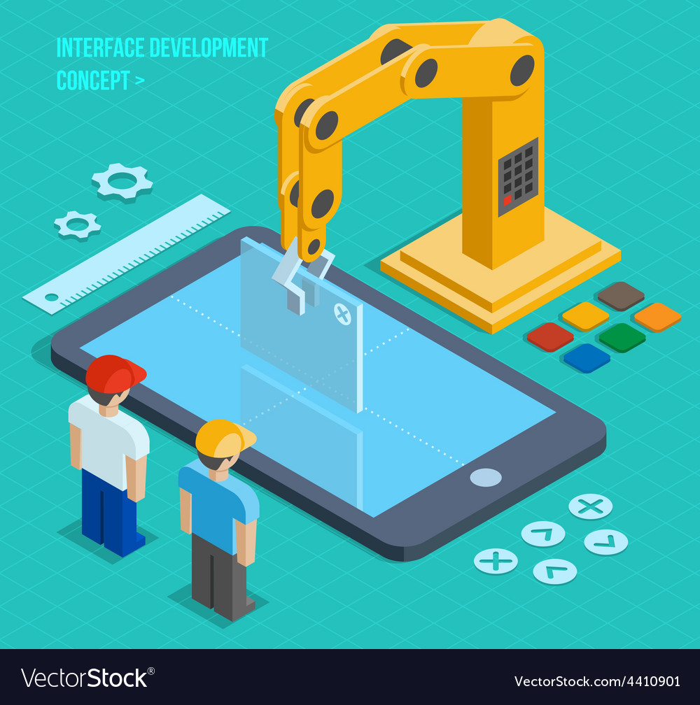 3d isometric user interface development vector | Price: 1 Credit (USD $1)