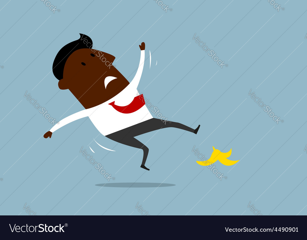 African american businessman slipping on a banana vector | Price: 1 Credit (USD $1)