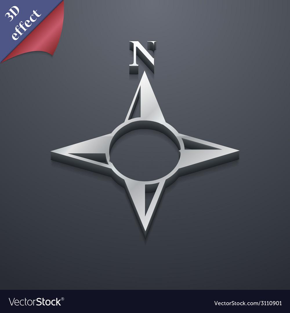Compass icon symbol 3d style trendy modern design vector | Price: 1 Credit (USD $1)