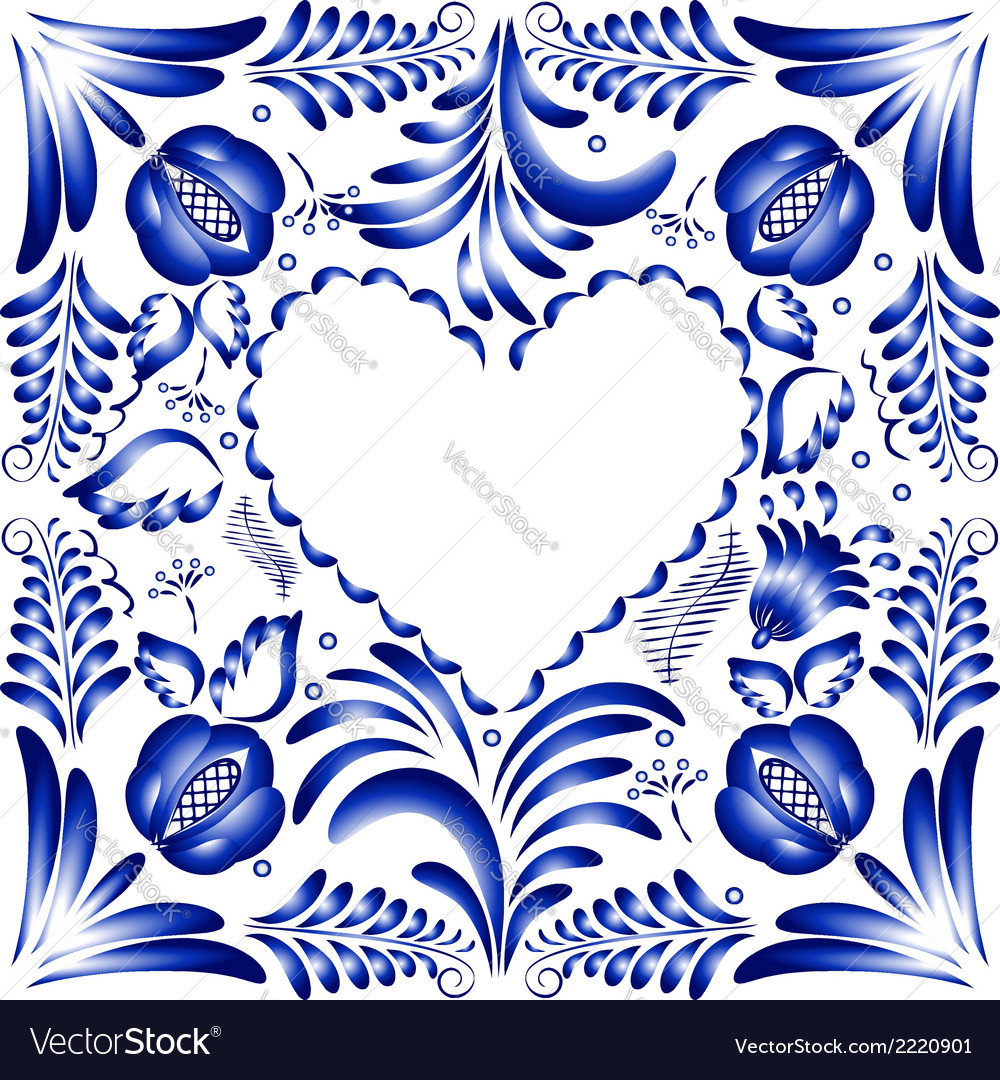 Flower frame in the form of heart styling gzhel vector | Price: 1 Credit (USD $1)