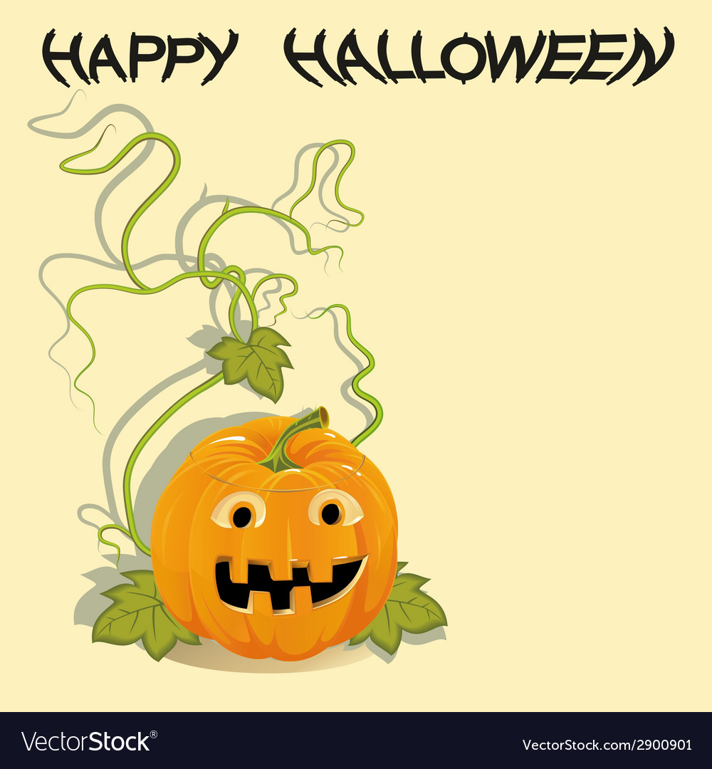 Greeting card with halloween pumpkin vector | Price: 1 Credit (USD $1)