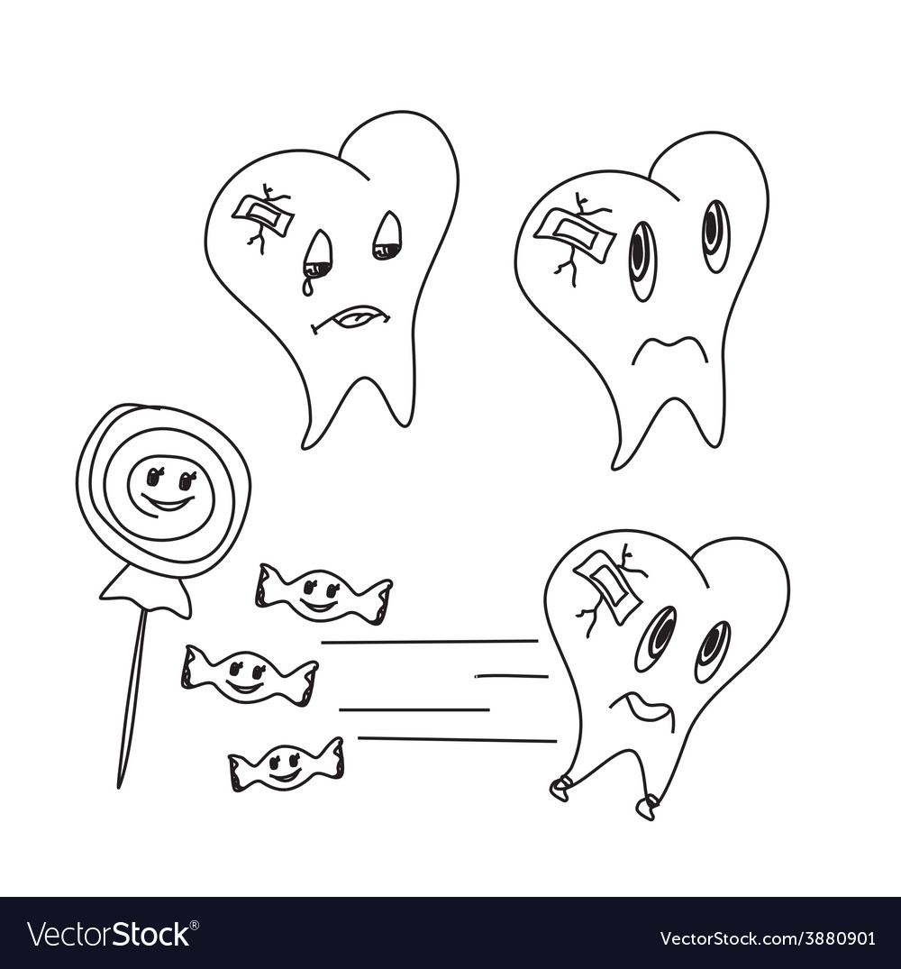 Hand drawn funny teeth icons set vector | Price: 1 Credit (USD $1)
